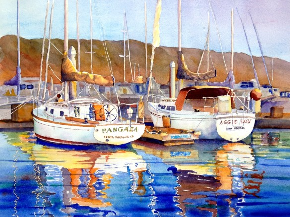 Boats and Harbor Mike Rider Watercolor