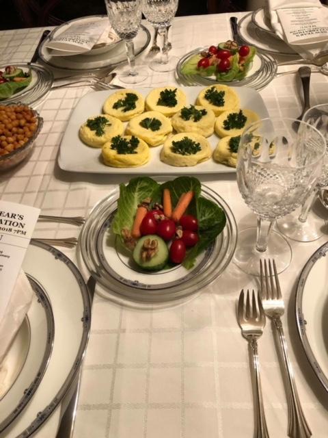 Eierstich and salad